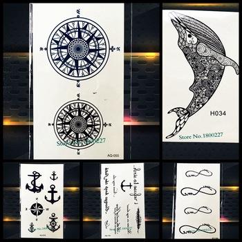 Магия Компасы тотем временные татуировки черный Водонепроницаемый Henna татуировки Наклейки Мандала звезда поддельные флэш-тату паста Для женщин Для мужчин