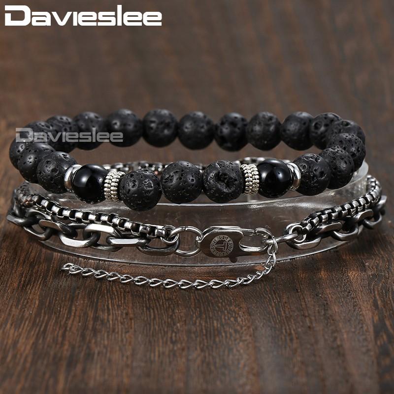 Davieslee двойной цепи кабель BOX Link мужские браслет для женщин черный Лава шарик из нержавеющей стали gunmatel серебро DDLB51