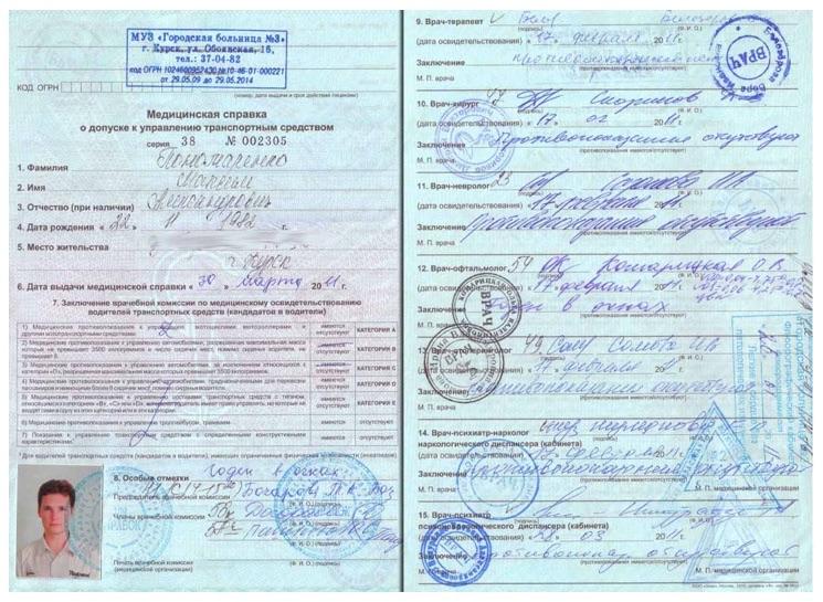 Срок действия медицинской справки на водительское удостоверение